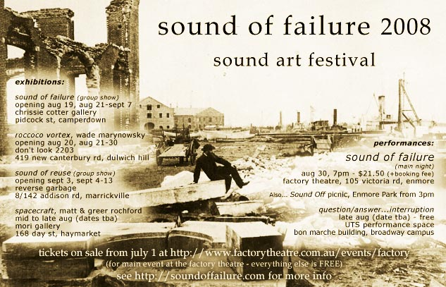 A festival of sound arts curated by Greg Shapely